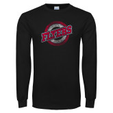 Black Long Sleeve T Shirt-Distressed Flyers Wordmark