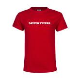 Youth Red T Shirt-Athletics Wordmark