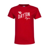 Youth Red T Shirt-Dayton Flyers Wave Design