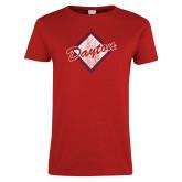 Ladies Red T Shirt-Distressed Dayton