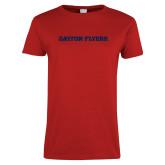 Ladies Red T Shirt-Athletics Wordmark