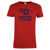 Ladies Red T Shirt-Stacked Dayton Flyers Distressed