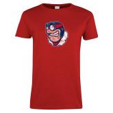 Ladies Red T Shirt-Mascot Distressed