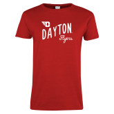 Ladies Red T Shirt-Dayton Flyers Wave Design