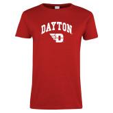 Ladies Red T Shirt-Arched Dayton