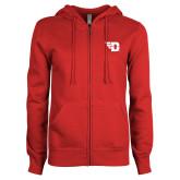 ENZA Ladies Red Fleece Full Zip Hoodie-Flying D