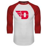 White/Red Raglan Baseball T Shirt-Flying D