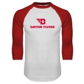 White/Red Raglan Baseball T Shirt-Dayton Flyers