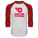 White/Red Raglan Baseball T Shirt-Dayton Flyers Stacked