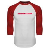 White/Red Raglan Baseball T Shirt-Athletics Wordmark