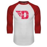 White/Red Raglan Baseball T Shirt-Flying D Distressed