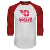White/Red Raglan Baseball T Shirt-Stacked Dayton Flyers Distressed