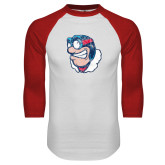 White/Red Raglan Baseball T Shirt-Mascot Distressed