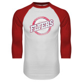 White/Red Raglan Baseball T Shirt-Distressed Flyers Wordmark