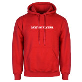 Red Fleece Hoodie-Athletics Wordmark