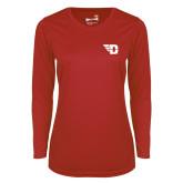 Ladies Syntrel Performance Red Longsleeve Shirt-Flying D