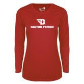 Ladies Syntrel Performance Red Longsleeve Shirt-Dayton Flyers