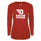 Ladies Syntrel Performance Red Longsleeve Shirt-Dayton Flyers Stacked