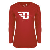 Ladies Syntrel Performance Red Longsleeve Shirt-Baseball
