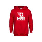 Youth Red Fleece Hoodie-Dayton Flyers Stacked