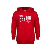 Youth Red Fleece Hoodie-Dayton Flyers Wave Design