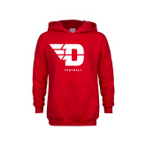 Youth Red Fleece Hoodie-Football