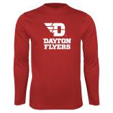 Performance Red Longsleeve Shirt-Dayton Flyers Stacked