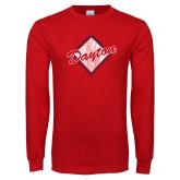 Red Long Sleeve T Shirt-Distressed Dayton