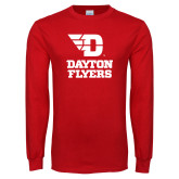 Red Long Sleeve T Shirt-Dayton Flyers Stacked