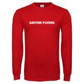 Red Long Sleeve T Shirt-Athletics Wordmark