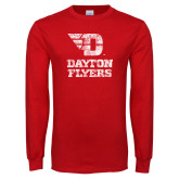Red Long Sleeve T Shirt-Stacked Dayton Flyers Distressed