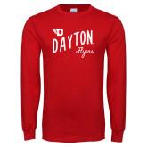 Red Long Sleeve T Shirt-Dayton Flyers Wave Design