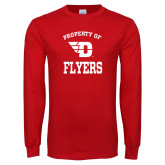 Red Long Sleeve T Shirt-Property of Dayton Flyers