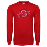 Red Long Sleeve T Shirt-Distressed Script