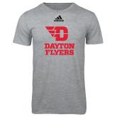 Adidas Sport Grey Logo T Shirt-Dayton Flyers Stacked