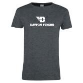 Ladies Dark Heather T Shirt-Dayton Flyers