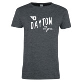Ladies Dark Heather T Shirt-Dayton Flyers Wave Design