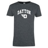Ladies Dark Heather T Shirt-Arched Dayton