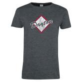 Ladies Dark Heather T Shirt-Distressed Dayton