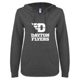 ENZA Ladies Dark Heather V Notch Raw Edge Fleece Hoodie-Dayton Flyers Stacked