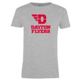 Ladies Grey T Shirt-Dayton Flyers Stacked
