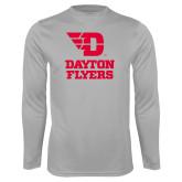 Performance Platinum Longsleeve Shirt-Dayton Flyers Stacked