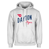 White Fleece Hoodie-Dayton Flyers Wave Design