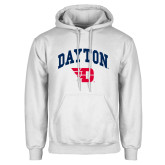 White Fleece Hoodie-Arched Dayton