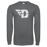 Charcoal Long Sleeve T Shirt-Flying D Distressed