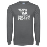 Charcoal Long Sleeve T Shirt-Stacked Dayton Flyers Distressed