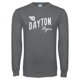 Charcoal Long Sleeve T Shirt-Dayton Flyers Wave Design