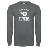 Charcoal Long Sleeve T Shirt-Property of Dayton Flyers