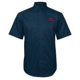 Navy Twill Button Down Short Sleeve-Dayton Flyers
