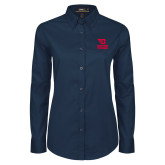 Ladies Navy Twill Button Down Long Sleeve-Dayton Flyers Stacked